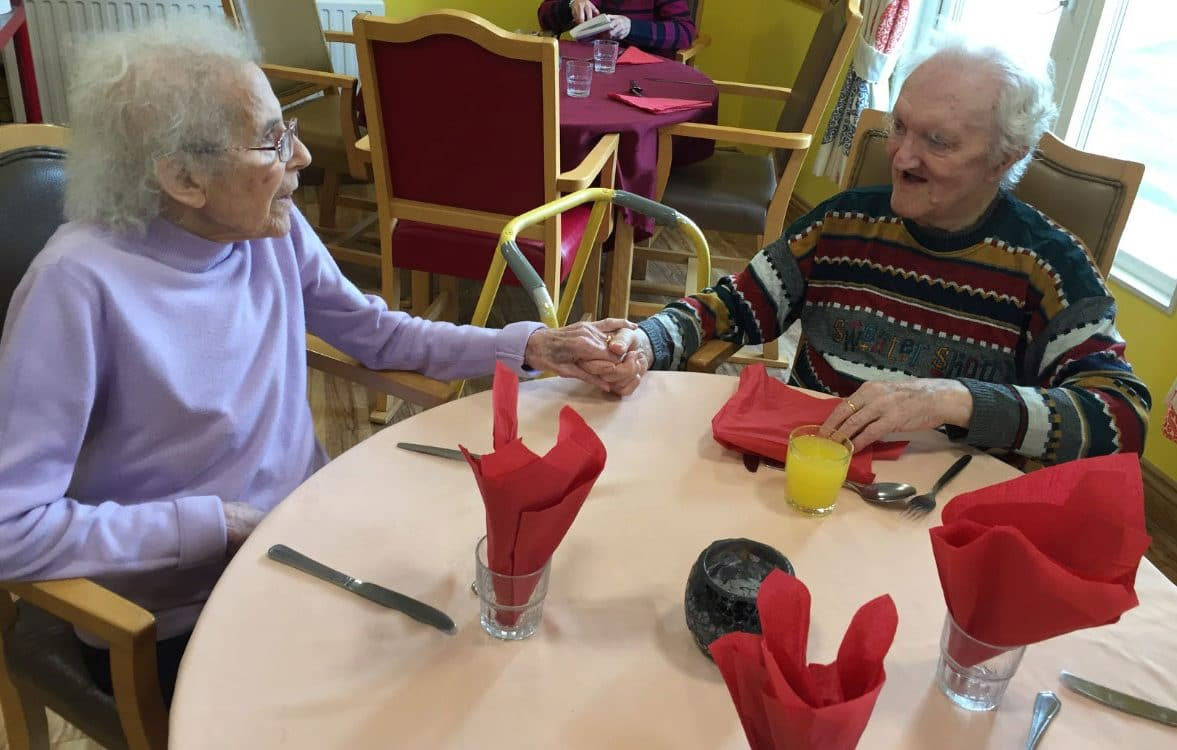 Ray and Millie Neave - two residents at Haven Lodge, celebrate - Valentine's Day