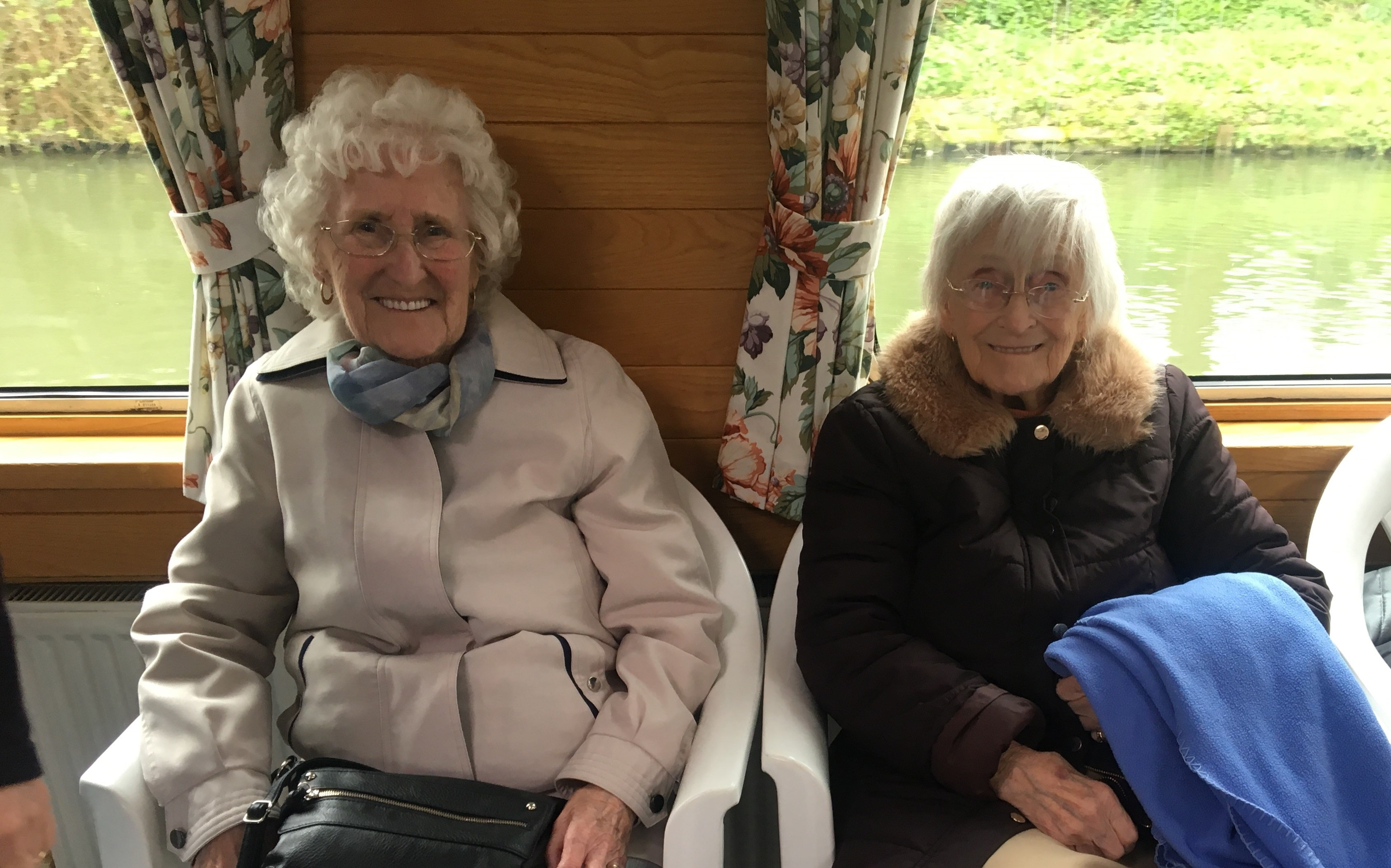 Rosemarie Yeeles (left) and Bessie Eccles (right) enjoy a high-spirited voyage